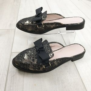 London Rag Shoes - London Rag black and gold mules size 8.5 with bows